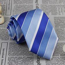 Classic Men's Necktie Blue Striped Jacquard Woven 100% Silk Wedding Tie FS30
