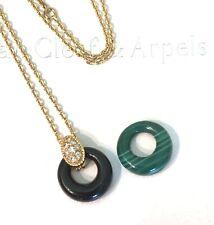 Van Cleef & Arpels 18K Yellow Gold Diamond Onyx Malachite Circle Necklace