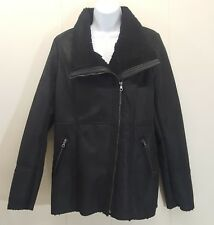 Maurices MEDIUM Black Coat Jacket Side Zip Military Motorcycle