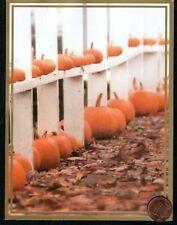Thanksgiving Fence Pumpkins Leaves Gold Shine Border Thanksgiving Greeting Card