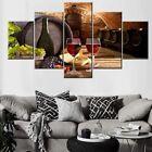 Red Wine Cellar Barrel Fruit Grape 5 Piece canvas Wall Art Print Home Decor photo