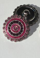 Fushia Pinks Snap Button Chunk Charm 18mm rhinestones enamel silver tone