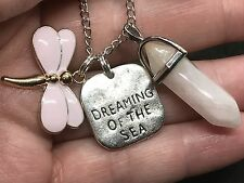 """Dragonfly Dream of Sea Pink & Hexagon Charm Tibetan Silver 18"""" Necklace D167"""
