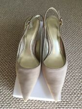 BNIB Gold Satin Slingback Court Shoe. Kitten Heel. Size 38