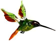 "Hummingbird Glass Figurine, Blown ""Murano"" Art, Green and Red Bird Ornament"