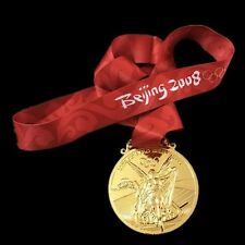 Beijing 2008 Olympic Gold Medal metal and Silk Ribbon replica rare USA SELLER
