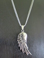 Stainless Steel Unisex Quality Fashion Usa Necklace Wing Pendant & Chain Silver