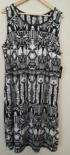 Dex Dress Geometric Sleeveless Llined Black White Women's Plus Size 1X NEW