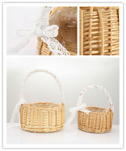 Woven Flower Basket Rattan Storage Flower Girl Hand Handmade Flower Bas YK