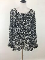 George Womens Tunic Top Plus Size 3X 22W / 24W Black White Floral Blouse