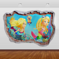 Barbie Dreamtopia Movie 3d Smashed Wall View Sticker Poster Art Decal 851