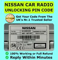 Nissan Radio Code Daewoo Micra Note Qashqai Almera Juke Connect Unlock FAST