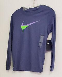 Nike Big Boys Swoosh Long Sleeve Cotton T Shirt Sanded Purple Sz S - NWT