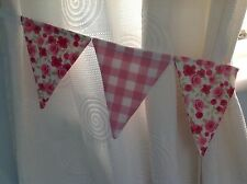 LAURA ASHLEY GIRLS PINK GINGHAM CHECK & DITSY ROSE BUNTING CURTAIN TIE BACKS