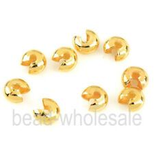 Lots 200Pc Silver Gold Plated End Crimp Beads Knot Covers Jewelry Making 3/4/5mm