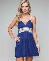 Womens Crocheted Strap Formal Wedding Guest Jersey Sleeveless Mini Dress Sz 8 10