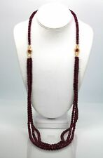 RUBY TRIPLE STRAND BEAD NECKLACE W/ FACTED RUBY AND DIAMOND STATIONS 18K 36""