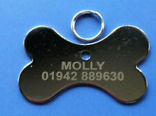 Dog ID Tag - Sliver Nickel Dog Bone Shaped PET Tags, Engraved Free on One Side