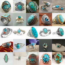 925 Silver Turquoise Ring Vintage Women Men Wedding Engagement Jewelry Size 5-12