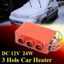 12V 24W Metal 3 Hole Car Heater Warmer Thermostat Fan Window Defroster Demister