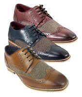 Men's Designer Signature Brogue Oxford Herringbone Tweed Leather Mix Retro Shoes
