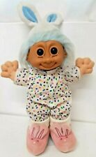 """Easter Bunny Russ Troll 12"""" Vtg Bugsy Holiday Blue Hair Ear Pink Rabbit Slippers"""