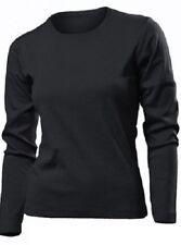 Magliette da donna a manica lunga in cotone nero