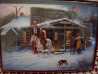 LEANIN TREE CHRISTMAS CARD SET COWBOYS AT TRADING POST 10 PK NEW !