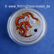 Lunar Serie 2 Drache dragon farbig color coloriert 1Oz colour II coloured 2012