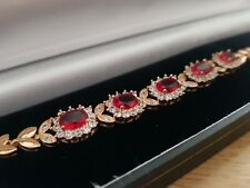 Yellow gold finish red ruby & created diamond princess tennis bracelet