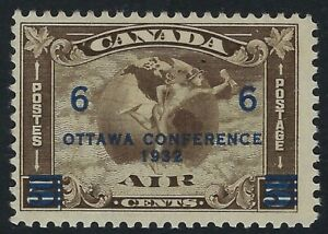 Scott C4: 6c on 5c Ottawa Conference overprinted on C2 Airmail stamp, F-VF-NH