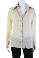 Escada Womens Long Sleeve Button Down Collared Blouse Top Beige Silk Size EUR 40