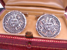 Silver Engraved Mayan Calendar Cufflinks Vintage Mexico Signed Hallmark Sterling