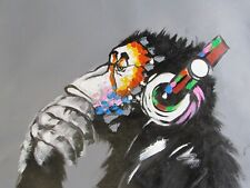 abstract colourful musical monkey large oil painting canvas headphones funky art