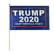 "Wholesale Lot of 3 Trump 2020 Keep America First! 45 Blue 8x12 8""x12"" Stick Flag"