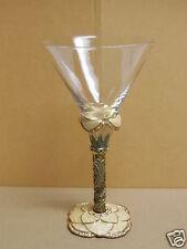 New listing 2 Saints Swarovski Crystal Jeweled & Enameled Flower Stem Martini Glass Barware