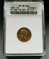 1951 Lincoln Wheat Cent Penny Proof ANACS PF65 RED Variety DDO FS-021.35 FS-101
