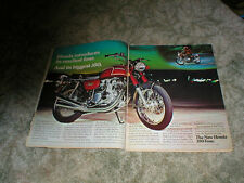 1972 HONDA 350 FOUR 2 page Cycle ad vintage street bike