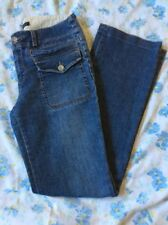 Banana Republic Flap Pockets SZ 6 Stretch Straight Leg Blue Jeans Missing Button