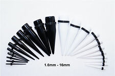 ACRYLIC EAR TAPER KIT STRETCHING TAPERS STRETCHERS EXPANDERS SET BLACK WHITE