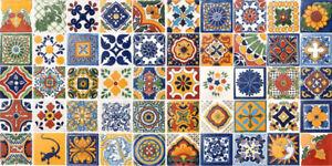 50 MEXICAN TILES 2x2 CERAMIC POTTERY TALAVERA MEXICO WALL FLOOR DECOR #002