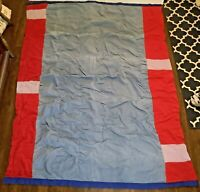 """Vintage Comforter Bed Throw Quilt Red, Blue and Gray Cordouroy - 76"""" X 57"""""""