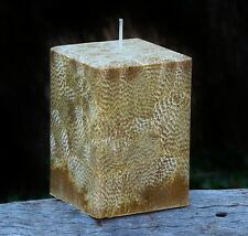 200hr DRY TOBACCO & HAY Triple Scented SQUARE CANDLE Stylish Bevelled Edges Gift