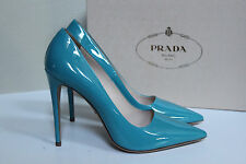 New sz 10 / 40 Prada Aqua Blue Patent Leather Pointy Toe Classic Pump Heel Shoes