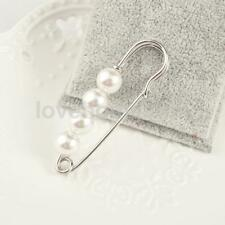 White Faux Pearls Silver Metal Large Safety Pin Brooch Sweater Scarf Clip