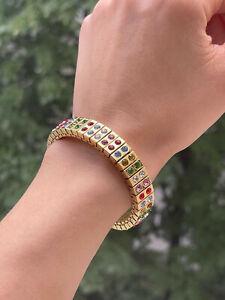 Artisan Multi Color Gemstone bracelet 24k GOLD HANDMADE bangle birthday gift 2ct