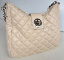 Kate Spade New York Quilted Gold Coast Janica Beige Leather Tote Shoulder Bag