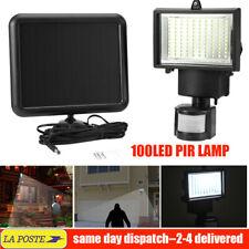 100LED Lampe Solaire Projecteur Capteur Détecteur Mouvement Jardin Extérieur FR