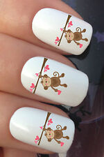 NAIL ART SET #320 x24 VALENTINES DAY MONKEY HEART WATER TRANSFER DECALS STICKERS