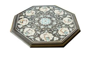 Octagon Black Marble Coffee Table Top Inlaid White Mother Of Pearl Floral Decor